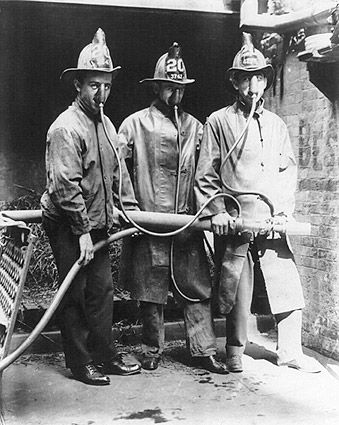 Wow! Portrait photo of NYC Firemen and James D. Halloran, a fireman and the inventor of the smoke mask!