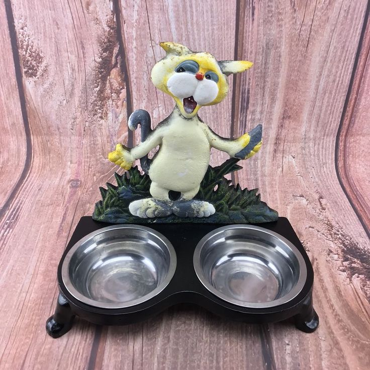 Vintage Cat Feeder 1960's Cast Iron Frame Stainless Feed Bowls Cat Fish Food