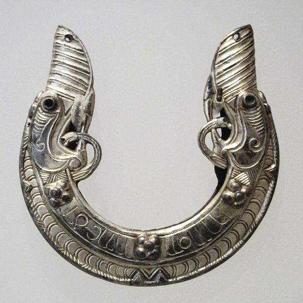 Celtic silver chape for sword scabbard, dated to around 800 CE. St Ninian's Isle Treasure.