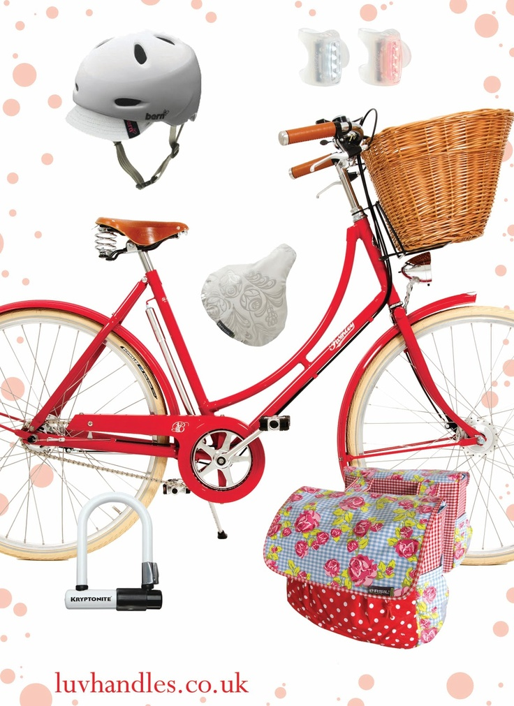 Ladies Bike Fashion with a classic red Pashley Brittania, Basil DBL pannier in Kath Kidston print, Bern helmet, Basil seat cover, Kryptonite lock, and Knog Skink lights