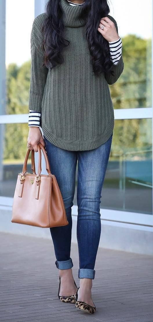 beautiful outfit / stripped top + sweater + bag + skinny jeans + shoes