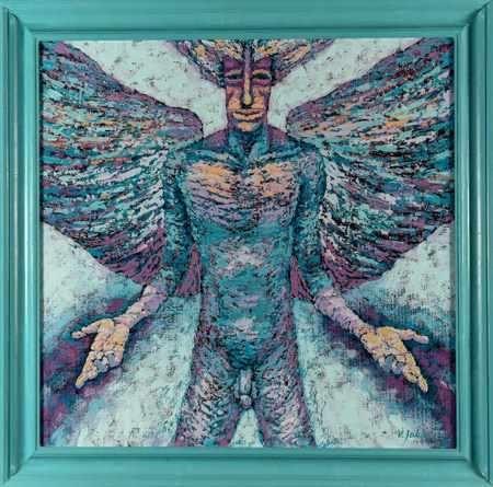 Vít John: Poslední anděl I. Technika: olej na lepence. Rozměr bez rámu: 58,5 x 59,5 cm. Rozměr s rámem: 70 x 71 cm #art #gallery #john #design #painting #style #interiordesign #stylish #home