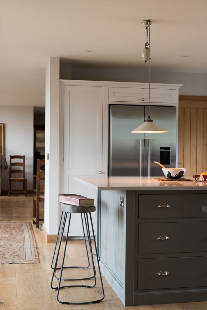 A lovely big shaker island with pan drawers by deVOL