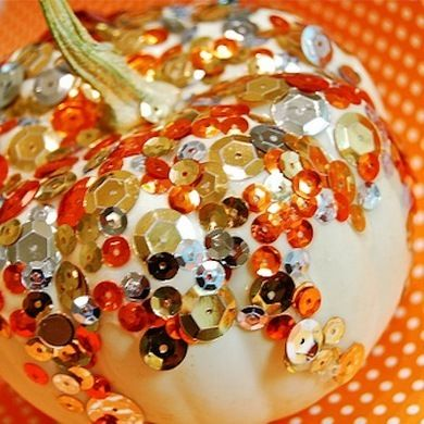Sequin Pumpkin - 13 Easy DIY No-Carve Pumpkins - Bob Vila