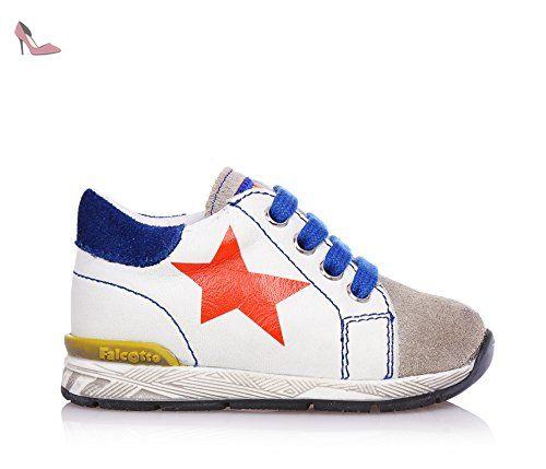 FALCOTTO - Chaussure jaune à lacets en cuir et suède, idéal pour ramper et pour la première étape, bébé (garçon)-18