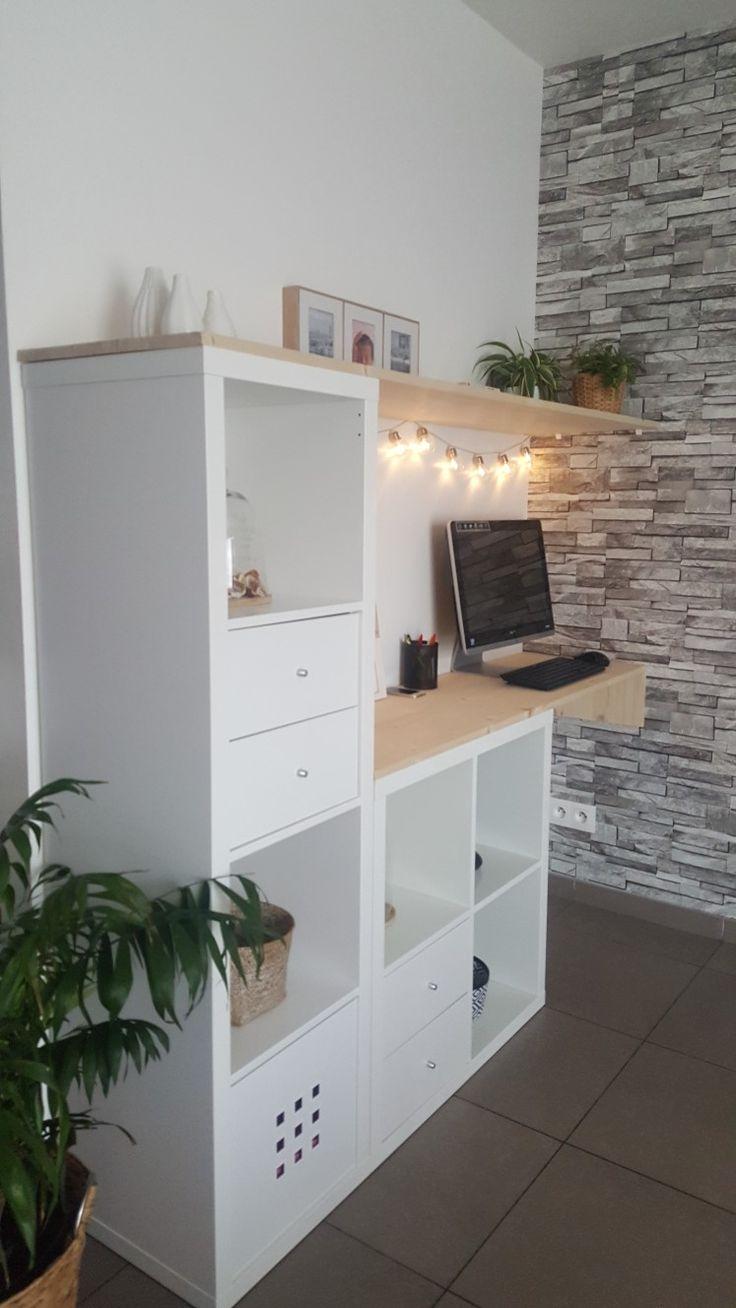 Aménager un petit coin bureaux  à moindre coup avec les étagères Kallax. Pou…