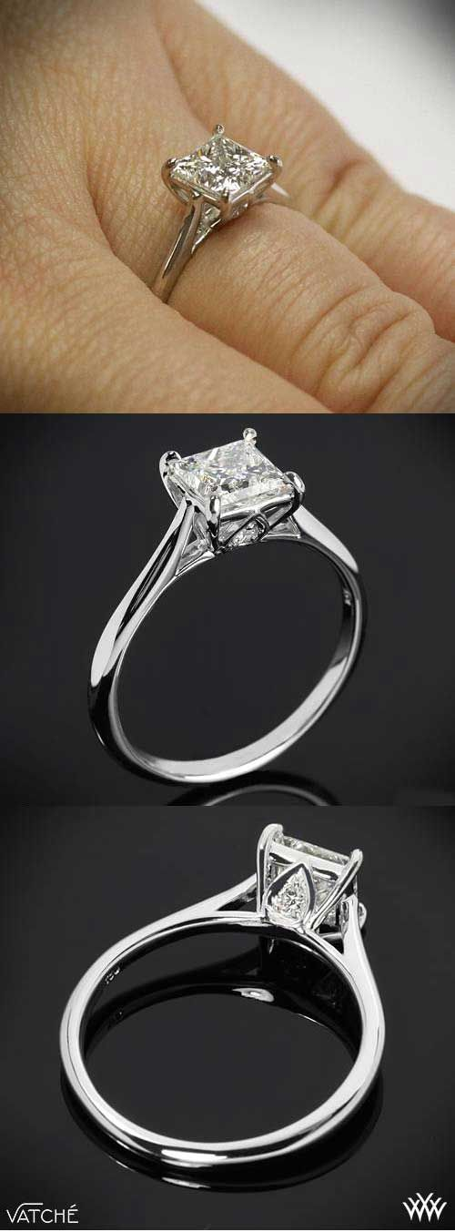 Perfect Four Prong Solitaire Setting by Vatche for Whiteflash | Princess Cut Engagement Rings - bridesandrings.com