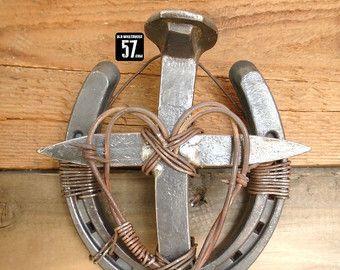 Railroad Spike Barbed Wire Cross Western Cross by OldWarehouse57