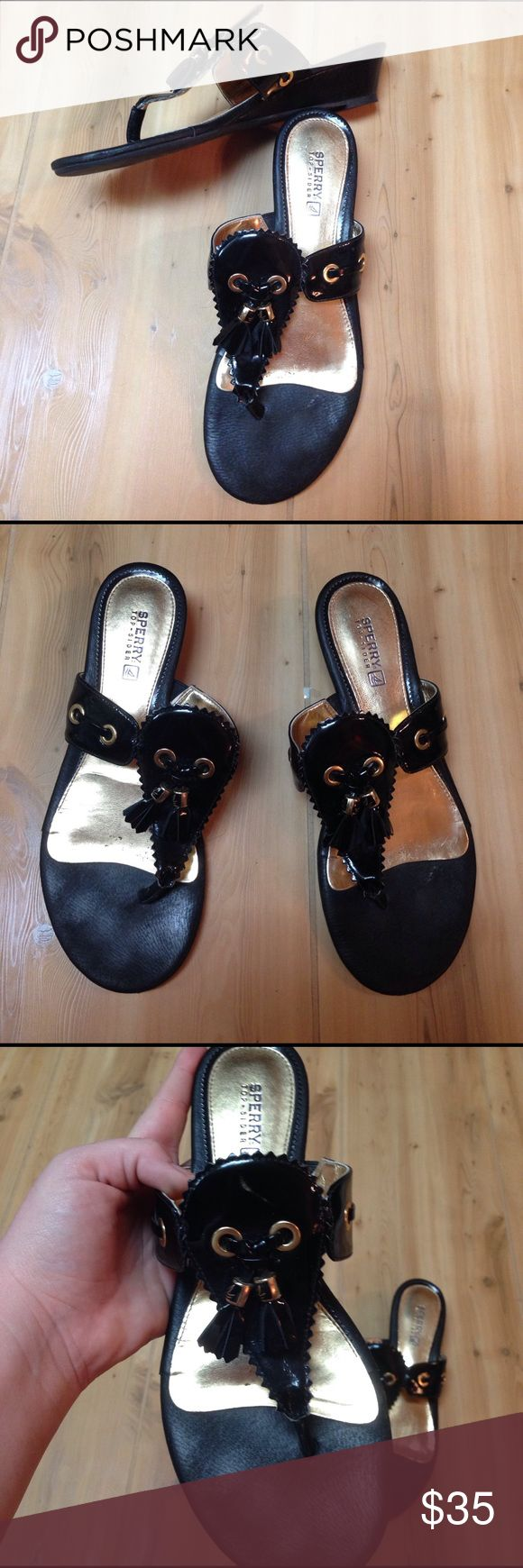 Sperry Sandals Black patent leather 7.5 M sperry sandals great used condition please view photos and ask questions if you have them Sperry Top-Sider Shoes Sandals
