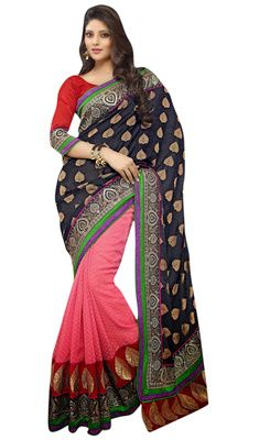 Designer Partywear Festivalwear Satin chiffon Pink Black Color Saree With Red Blouse