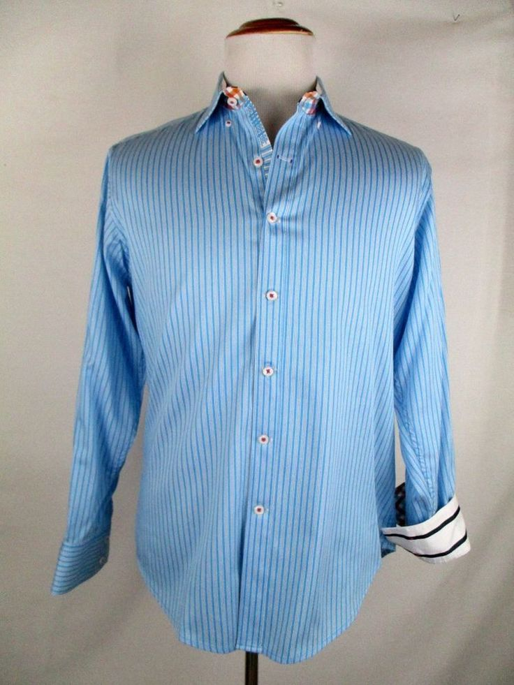 Robert Graham X Collection Blue Striped Shirt Contrast Flip Cuff Collar M Medium #RobertGraham #ButtonFront