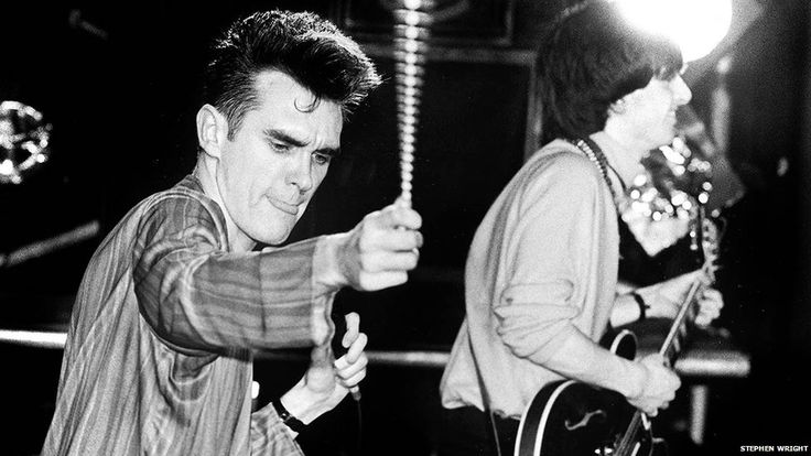 Morrissey and Johnny Marr: The Smiths live at Free Trade Hall, Manchester, England on March 13, 1984 ― photo by Steven Wright.