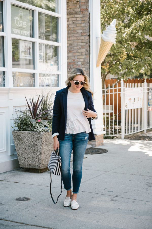 Afternoon Ice Cream Run: Navy Blazer & Loafers — bows & sequins. White ruffle peplum long sleeved tee+skinny jeans+white leather loafers+navy knit blazer+navy and white striped satchel bag+sunglasses. Spring Casual Outfit 2017