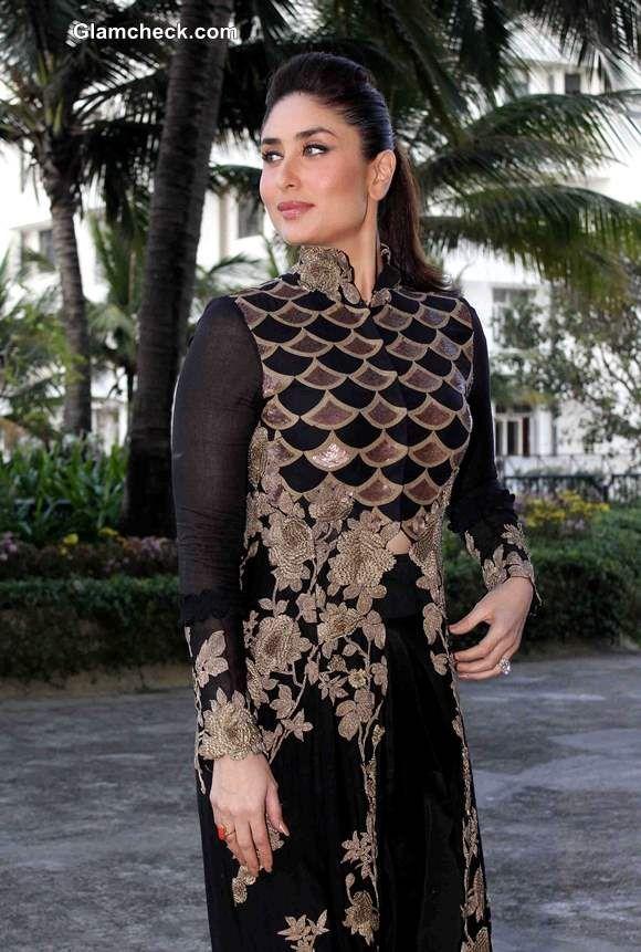 Kareena Kapoor 2014 in Anamika Khanna Black and Gold Outfit