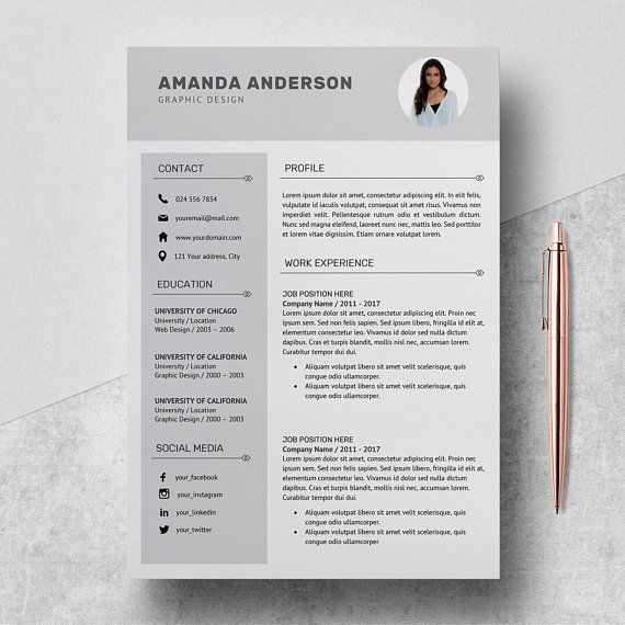 Resume Template Professional Cv Template Cover Letter