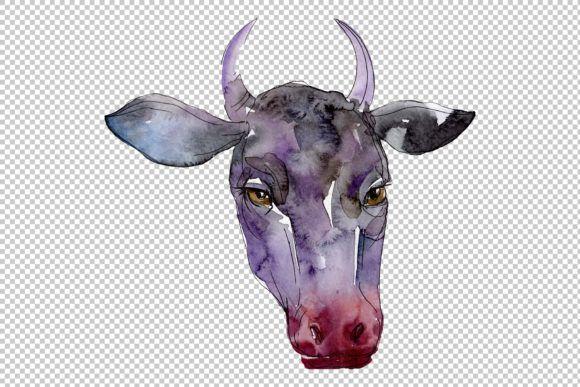 Farm Animals Cow Head Watercolor Png Graphic By Mystocks Creative Fabrica Cow Head Farm Animals Animals