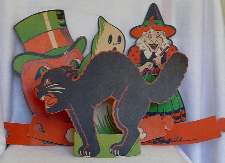 halloween table decorations set jack o lantern ghost witch and cat from gaspee sales on ruby lane