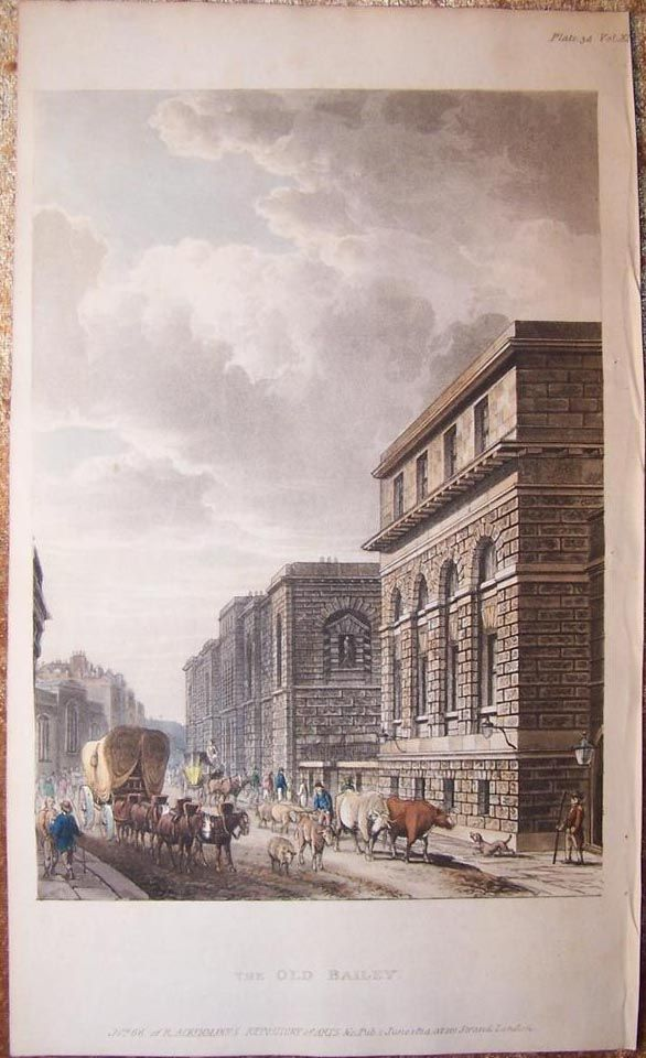 OLD BAILEY + NEWGATE PRISON 1814