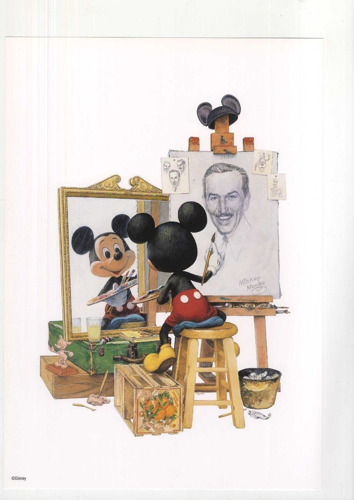 Mickey Mouse Drawing Walt Disney Self Portrait Out of ...