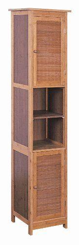 Bambus Hochschrank Badezimmerschrank 2-türig Badezimmer Möbel Bad