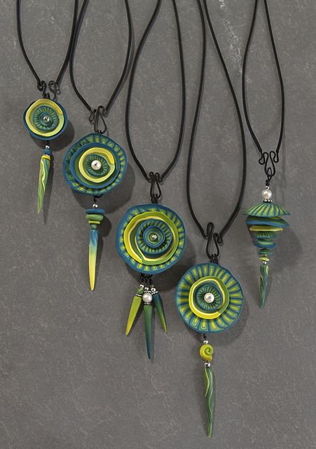 nested pendants turquoise-yellow by Laura Tabakman, via Flickr