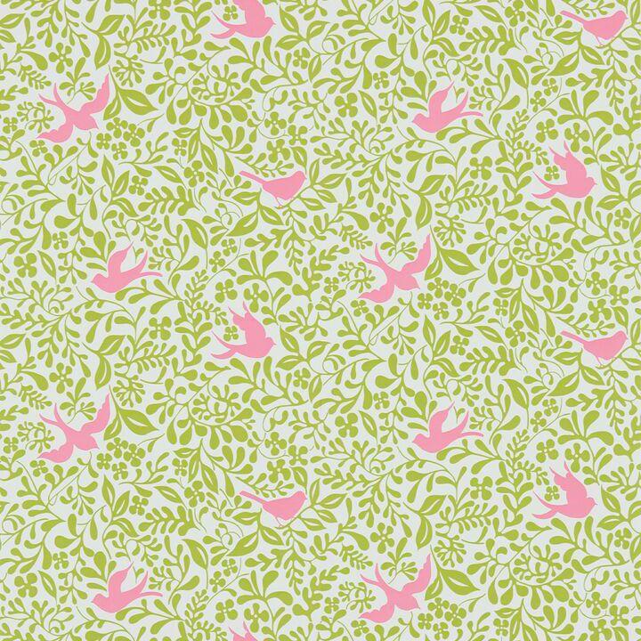 Sanderson Papavera Wallpaper Collection Larksong in Lime / Cerise wallpaperdirect