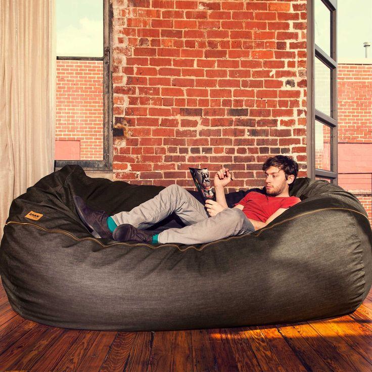 Black Denim 7 Ft Bean Bag Sofa By Jaxx