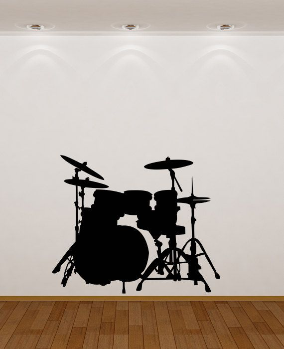 Kids Room Wall Decal Drummer Drum Set Wall Decal by HappyWallz