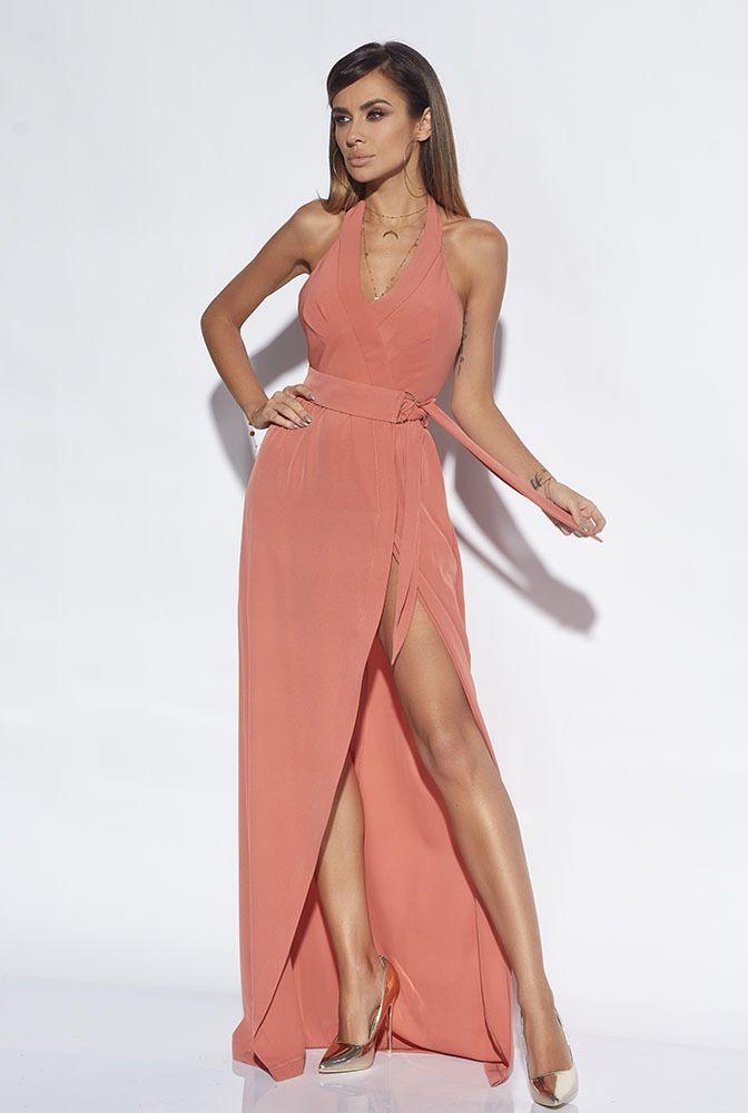93adb21a009908 CATALINA - DŁUGA SUKNIA W ODCIENIU CEGLASTYM | HOT SUKIENKI SUKIENKI \  WIECZOROWE SUKIENKI \ WSZYSTKIE | Sklep z sukienkami LOU