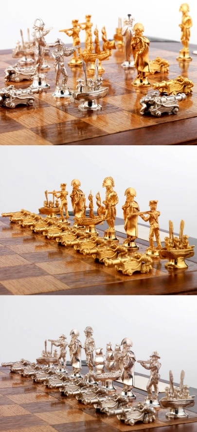 TRAFALGAR SILVER & SILVER-GILT CHESS SET Get yours at http://www.chessbazaar.com/