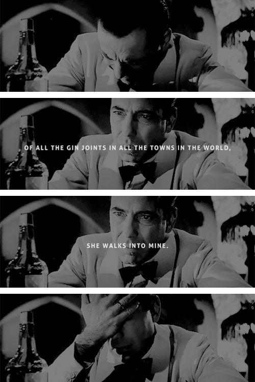 Humphrey Bogart as Rick Blaine in Casablanca (1942) dir. Michael Curtiz