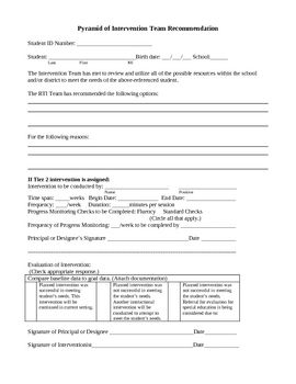 RTI or Response to Intervention Documentation forms. Includes pyramid of intervention team recommendation form, tier 2 and 3 strategies response fo...