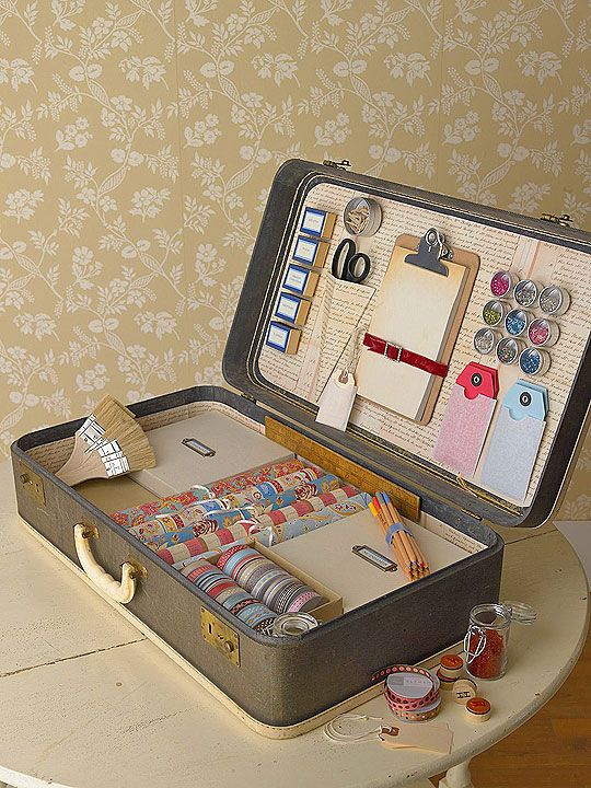 Craft organization station in a suitcase