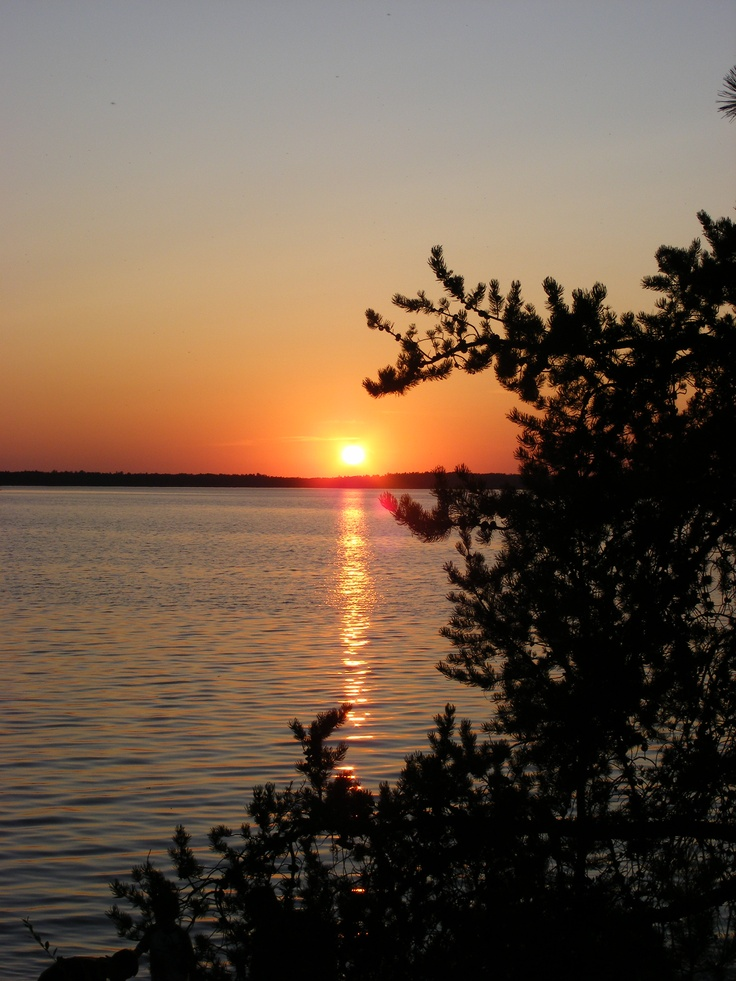 Rainy Lake Ontario Canada.  Sunset Country. Looking out to the North Arm of Rainy Lake. Photo by Sylvia Johnston.