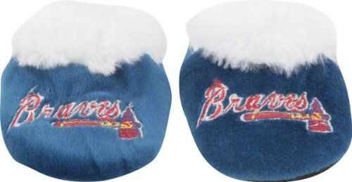 Atlanta Braves Baby Bootie Slipper  https://allstarsportsfan.com/product/atlanta-braves-baby-bootie-slipper/  Fuzzy white liner around foot entry point Team color slipper with contrasting team color on logo and bottom 80% polyester fiber/20% plastic for durability and comfort