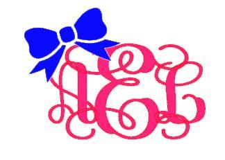 """Vine Monogram with Bow Decal for Laptop, Tablet, Notebook, Car - Choose 3"""", 4"""", 5"""" or 6"""" - Choose Mono & Bow Color"""