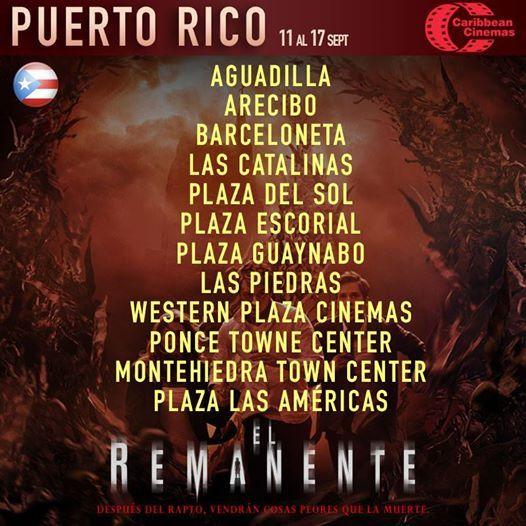 [#PuertoRico] ¡HOY! GRAN ESTRENO | #ElRemanente en Caribbean Cinemas  HORARIOS ➜ https://www.facebook.com/notes/el-remanente/el-remanente-cartelera-de-cine/1458537324413349 VER TRÁILER ➜ https://www.facebook.com/video.php?v=1462698637330551  Próximamente otros países de #AméricaLatina