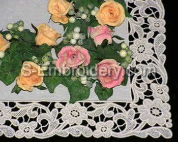 10395 Antique floral free standing lace embroidery set