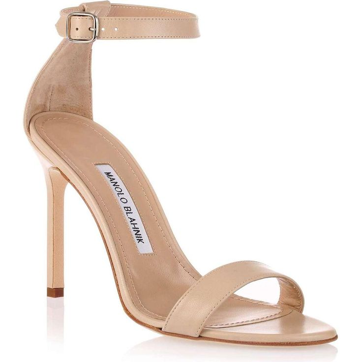 Manolo Blahnik Chaos Nude Leather Sandal as seen on Victoria Beckham