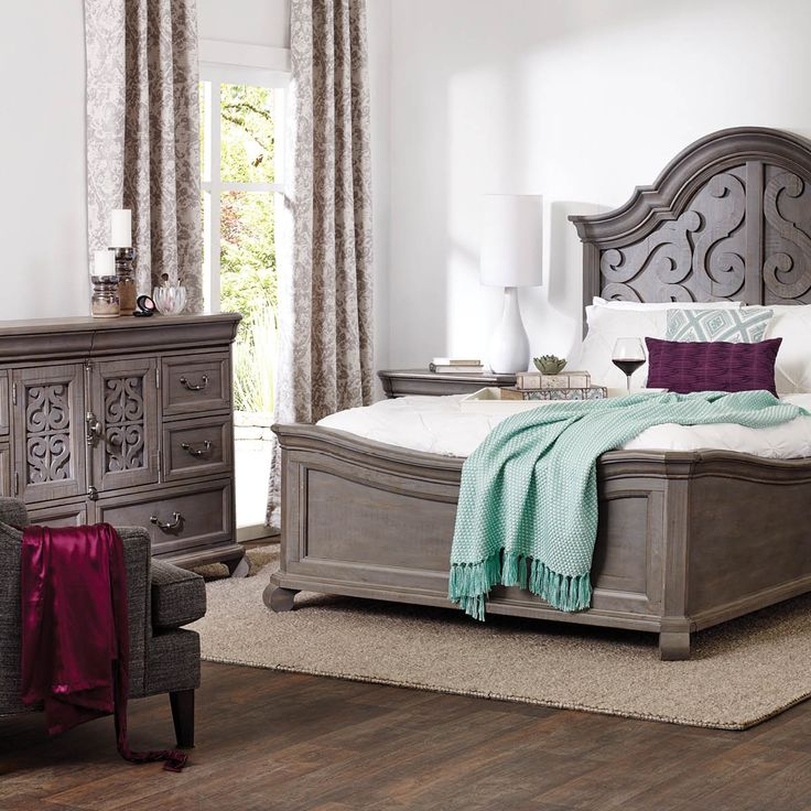 CHURCHILL BED -PEWTER  Give your bedroom a strong foundation with the Churchill Collection. Drawing inspiration from classical architecture, each piece has a timeless silhouette. With a richly weather finish, Churchill has a character all its own