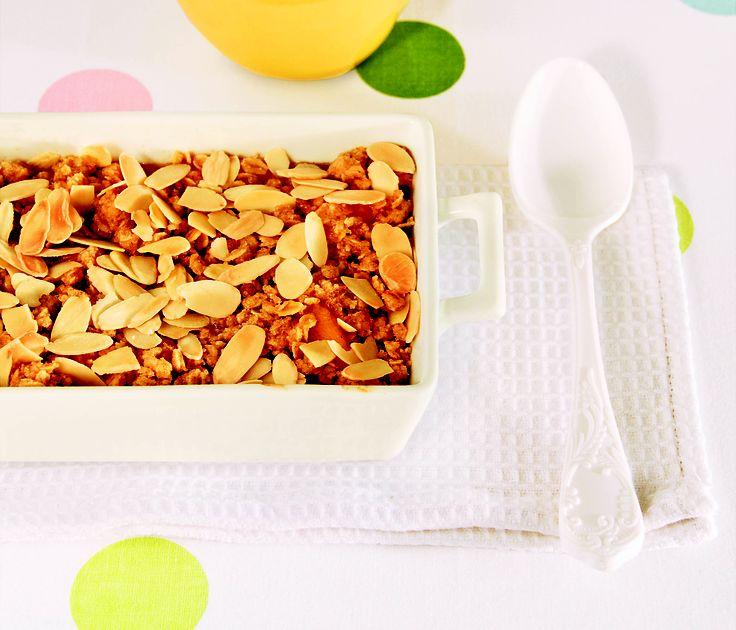Nectarines and almond crisp - HomeChoice Cookbook Volume I. Find the recipe here: http://hometalk.homechoice.co.za/category/sweet-treats