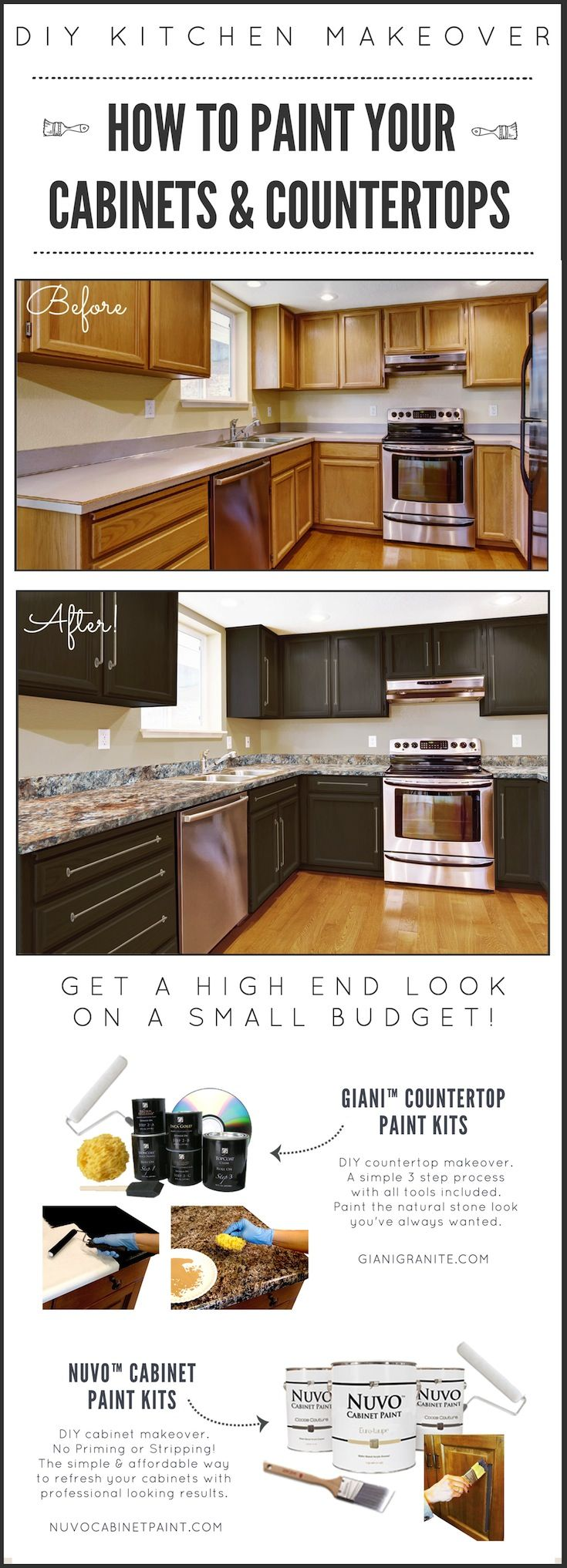 DIY Kitchen Makeover on a Budget. Before and After. Giani Granite Countertop Paint kits transform existing counters to the look of natural stone and Nuvo Cabinet Paint is a one-day makeover process. www.gianigranite.com