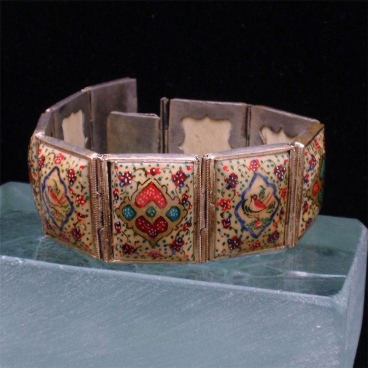 Antique Watches Persian Panel Bracelet Hand-painted Bone And Metal Vintage