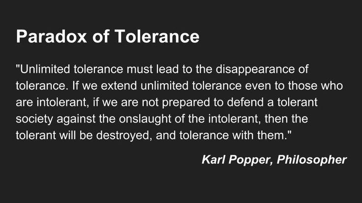Understanding the Paradox of Tolerance https://en.wikipedia.org/wiki/Paradox_of_tolerance #sharialaw #tolerance #criticalthinking
