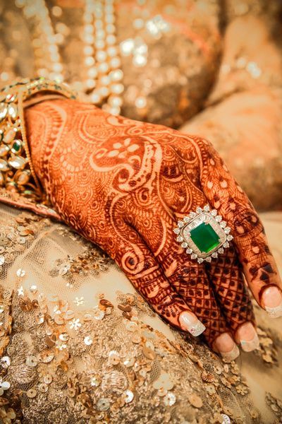 Cocktail Rings - Square Cocktail Ring with a Green Emerald and Diamonds…