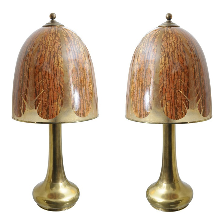 pair of brass table lamps wunique acrylic shades 1950u0027s unusual midcentury bell