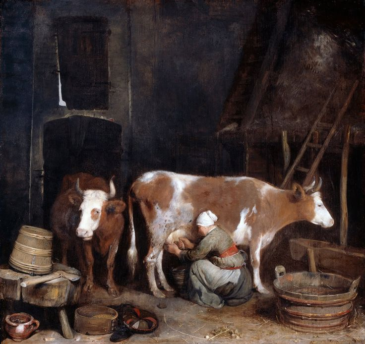 Ter Borch (1640s) - A Maid Milking a Cow in a Barn
