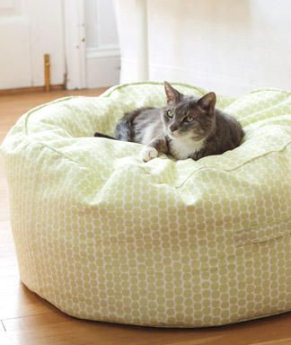 DIY Beanbag Pouf - I made this today!  It turned out very well. We are using it to store all of my son's stuffed animals and he loves it!