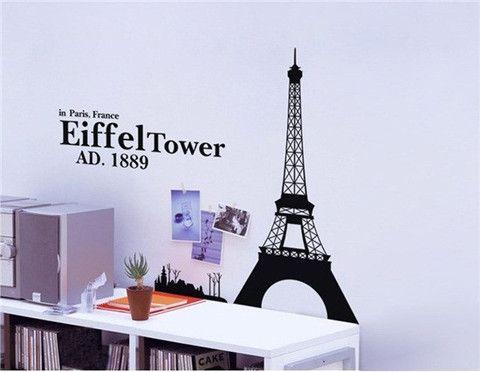 Large Size Eiffel Tower Art Decals Home Decoration DIY Wallpaper Sticker (Black)$20.99