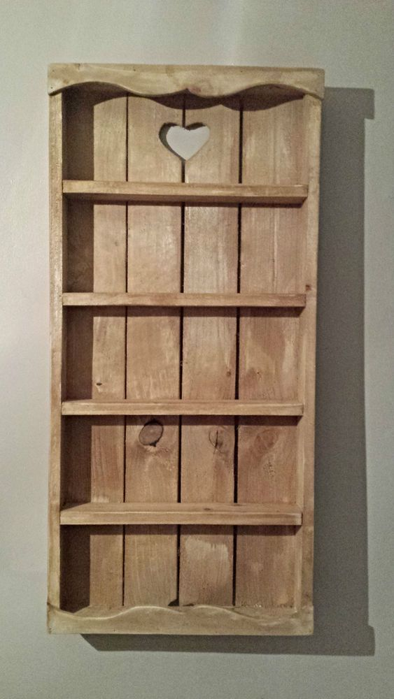 WOODEN RUSTIC COTTAGE SPICE RACK  5 TIER  - STORAGE - WALL - SHELVING - KITCHEN #TheRusticBoutique